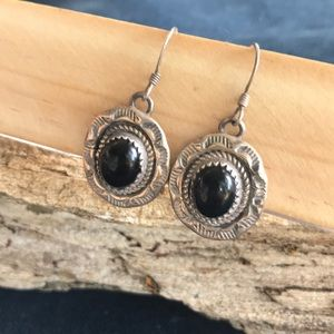 Navajo Signed Sterling And Onyx Earrings